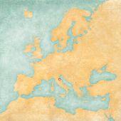 Map Of Europe - San Marino (vintage Series)