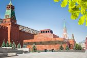 Lenin's Mausoleum on Red square and Kremlin wall