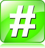 image of hashtag  - illustration of green hashtag icon on white background - JPG