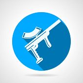 foto of paintball  - Round blue flat vector icon with white silhouette paintball rifle on gray  background - JPG