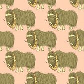 pic of yaks  - Sketch fancy yak in vintage style vector seamless pattern - JPG