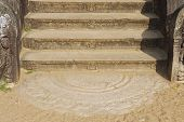 stock photo of vihara  - Ancient stone staircase decoration in Anuradhapura - JPG