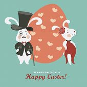 image of easter eggs bunny  - Easter bunnies and easter egg - JPG