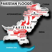 flood areas in isolated map of Pakistan