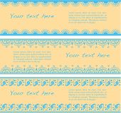 picture of indian blue  - Set of blue and cream traditional Indian henna pattern horizontal banners with space for text - JPG