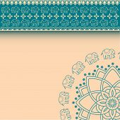 picture of indian blue  - Traditional blue and cream Indian henna elephant mandala design horizontal invitation with space for text - JPG