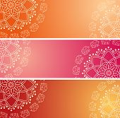picture of indian elephant  - Set of 3 colorful traditional Indian henna elephant mandala design horizontal banners with space for text - JPG