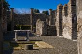 stock photo of pumice-stone  - Ruins of a house in the archeological excavations of Pompeii Italy - JPG