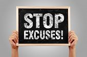 image of take responsibility  - Stop Excuses blackboard is holden by hands with gray background - JPG