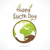 image of save earth  - happy earth day or save earth greeting design vector - JPG
