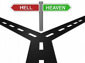 foto of hell  - 3D render of road to heaven and hell with sign board - JPG