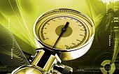 image of sphygmomanometer  - Digital illustration of sphygmomanometer in colour background - JPG