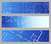 stock photo of blueprints  - Technical blueprint engineering web banner vector backgrounds - JPG