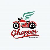 stock photo of chopper  - orange chopper motorcycle and wigs logo art style - JPG