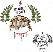 picture of fist  - Vector street fight emblem with fist and chain - JPG