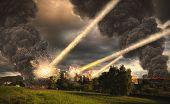 image of meteor  - Meteorite shower destroying the city and buildings - JPG