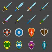 picture of crusader  - Antique weapon color icons set with heraldic battle shields and crusader knights swords abstract isolated vector illustration - JPG