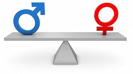 stock photo of seesaw  - 3D render of Gender symbols on a seesaw - JPG