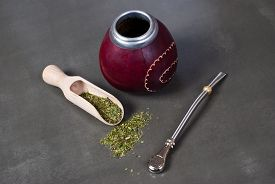 picture of calabash  - Calabash and bombilla with yerba mate on gray background - JPG