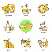 Постер, плакат: Food And Drink Vector Icons Set