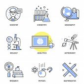stock photo of astronomy  - Science vector icons set - JPG