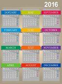 image of monday  - English calendar for year 2016 - JPG