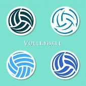 image of volleyball  - Set of four vector volleyball ball abstract labels - JPG