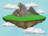 stock photo of floating  - Floating island with mountain and meadow in the sky vector low poly illustration - JPG