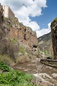 foto of armenia  - Hotel on a rock and a mountain stream in the mountains of Armenia - JPG