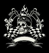 Постер, плакат: Vector biker emblem with skull or dead motorcycle racer