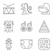 picture of drum-set  - Baby thin line related vector icon setfor web and mobile applications - JPG