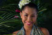 pic of filipina  - Portrait of beautiful woman under palm tree - JPG
