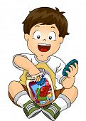 picture of memento  - Illustration of a Little Boy Putting His Toys Inside a Jar to Make a Time Capsule - JPG