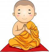 image of clutch  - Illustration of a Little Buddhist Boy with His Hands Clutched in Prayer - JPG