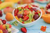 Diet, healthy fruit salad - healthy breakfast, weight loss concept poster