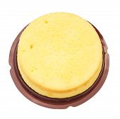 pic of sponge-cake  - top view home made round sponge cake on white with clipping path - JPG