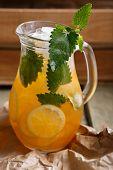 stock photo of jug  - Jug of Iced lemonade with lemon balm - JPG