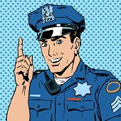 picture of law order  - A police officer warns draws the attention of the profession the man smile law and order - JPG