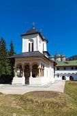 foto of church  - The old church at the Orthodox Sinaia Monastery and the partial view of the church inside - JPG