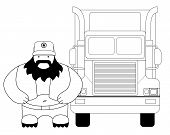 image of car carrier  - Fat round cartoon style black beard truck driver - JPG