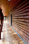 picture of chalet interior  - Closeup Interior of vintage wooden wall with walk way - JPG