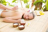 image of day care center  - Attractive young woman getting massage on her back at spa center - JPG