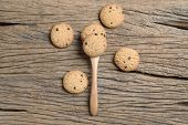 picture of chocolate spoon  - chocolate chip cookie in spoon on wooden table - JPG