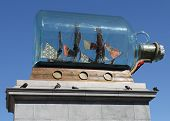 picture of plinth  - Giant ship in a bottle on the 4th plinth Trafalgar square London - JPG