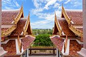 picture of gable-roof  - Thai style ancient roof and sky in the temple Thailand - JPG