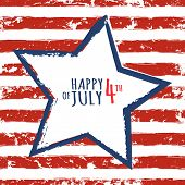 Постер, плакат: Happy 4Th Of July Usa Independence Day Watercolor Blue Star On Seamless Grunge Stripe Vector Backg