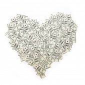 picture of 100 dollars dollar bill american paper money cash stack  - Heart of banknote denominations of 100 dollars - JPG