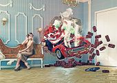 stock photo of tragic  - red car breaks the wall in luxurious interior with frightened woman - JPG