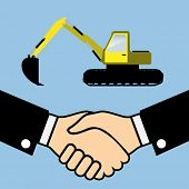 pic of excavator  - Illustration of Business Partners Handshake on the background of the Excavator - JPG