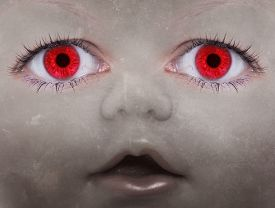 picture of scary face  - Scary doll face with human looking eyes - JPG